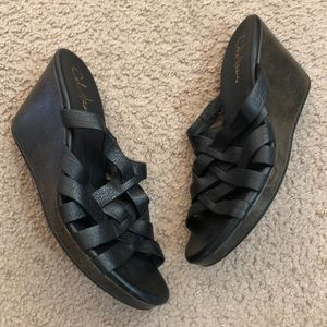 Cole Haan Black Leather Criss Cross Wedge Sandals